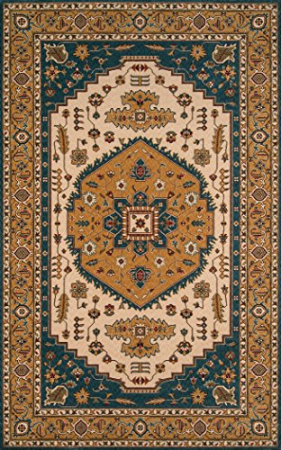 Momeni Rugs PERGAPG-03TEB80A0 Persian Garden Collection, 100% New Zealand Wool Traditional Area Rug, 8' x 10', Teal Blue (Blue Rug Garden Persian Teal)