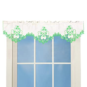 Simhomsen Irish Clover Kitchen Window Curtain Valance for St. Patrick\'s Day  and Spring, Embroidered Shamrock Decorations (W 60\'\' × L 16\'\')