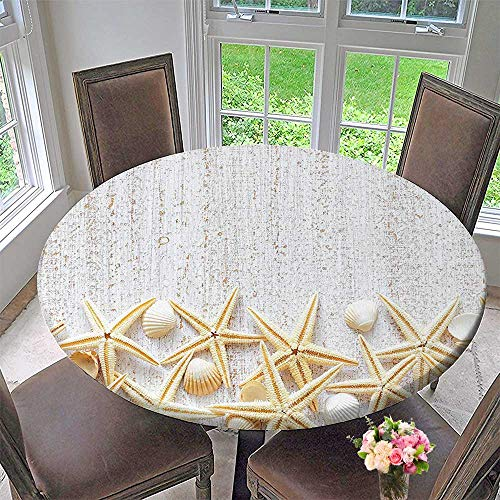 Round Table Tablecloth Sea Shells On Timber Pattern Tropical Honeymoon Getaways Classic Decorating Marine Theme for Wedding Restaurant Party 63