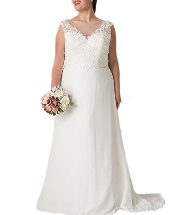 Weddingdazzle Plus Size Chiffon Beach Wedding Dress Lace Appliques