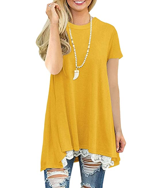 455ba0cd3 Lalala Camisa Casual Mujer Vestido Blusa Encaje Mujer Túnico Shirt Suelto  Camiseta Manga Larga Manga Corta Mujer  Amazon.es  Ropa y accesorios
