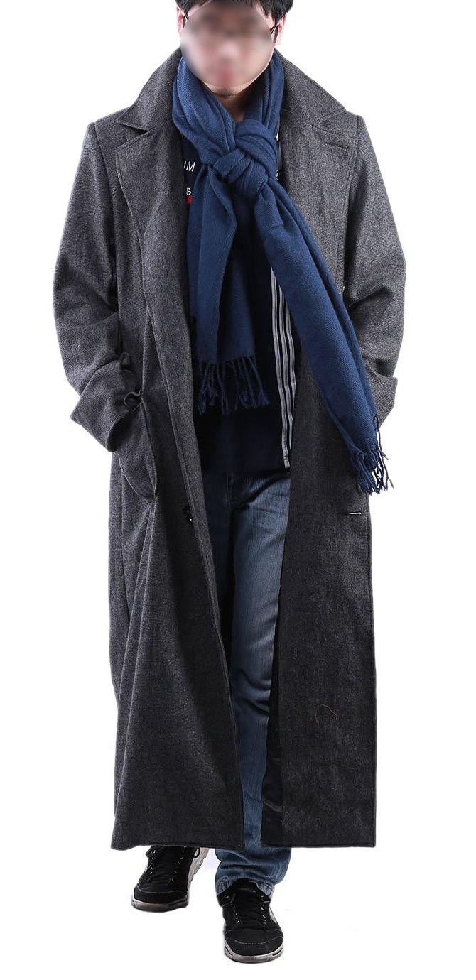 Sherlock Coat Woolen Trench Jacket Male Costume with Scarf M