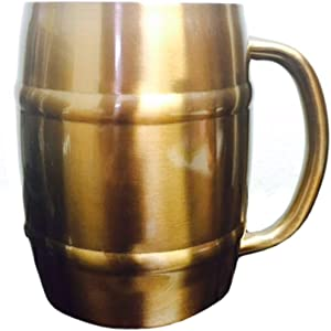 Stainless Steel Double Wall Coffee Mug, Barrel Mug (1, copper)
