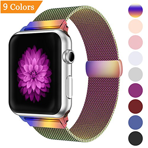 Bandx Milanese Loop Band for Apple Watch 38mm 42mm,Stainless Steel Mesh Band with Magnetic Closure for iWatch Series 3 Series 2 Series 1 (Colorful 42mm) by Misker