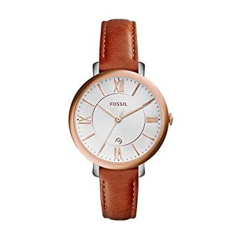 bb95ec338 Amazon.com: Fossil Women's ES3842 Jacqueline Rose Gold-Tone Stainless Steel  Watch with Brown Leather Band: Fossil: Watches