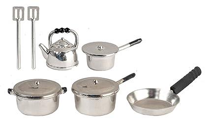 Casa De Muñecas cromo Cacerola Set Pan Miniatura 1:12 Escala Accesorio de Cocina