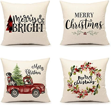 4TH Emotion Christmas Pillow Covers 18x18 Set of 4 for Farmhouse Home Decor Winter Holiday Throw Pillow Case Cushion Covers