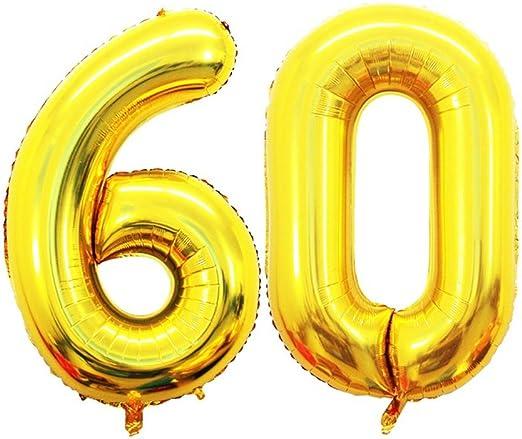 Amazon.com: Goer 42 inch número de oro 60 globo, Jumbo Foil ...