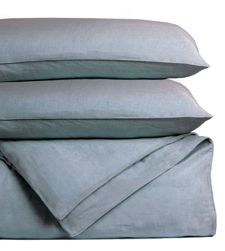 Bamboo Linen Duvet Cover Set by Cariloha - Includes Duvet Cover and 2 Pillow Shams - 3 Degrees Cooler than Cotton - Soft and Smooth Bamboo-Linen Weave (King, Blue Lagoon)