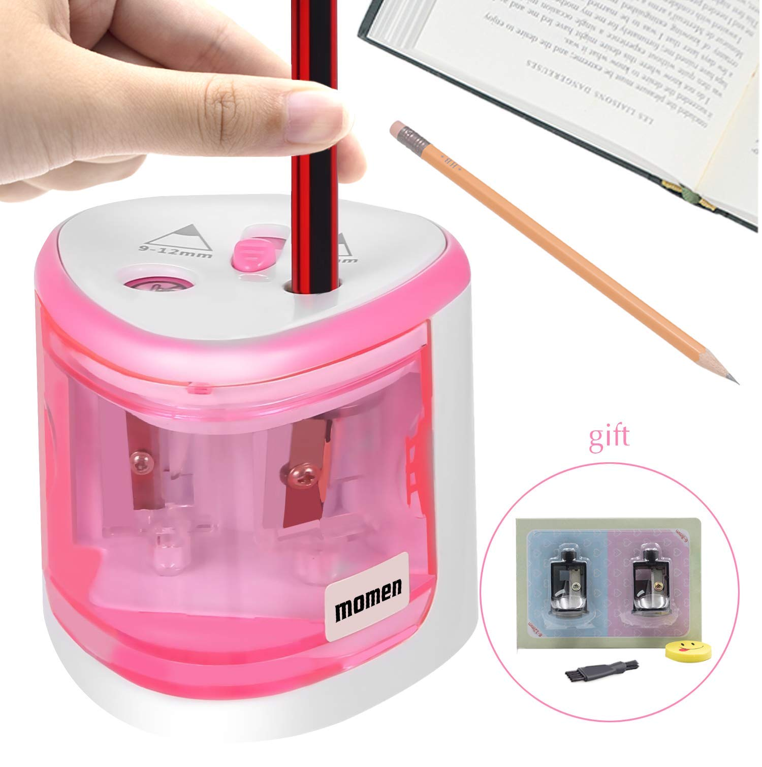 Electric Pencil Sharpener, momen Portable Automatic Colored Pencil Sharpener Heavy Duty for School Classroom Office Home Commercial-Pencil Sharpener Battery Operated for Kids, Teachers, Artists(Pink)