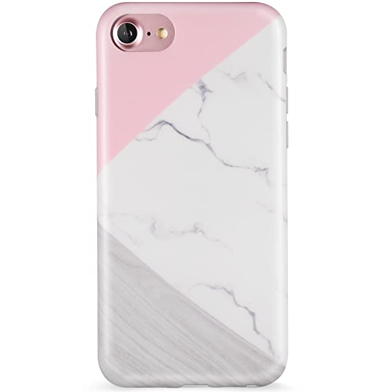 reputable site 30b33 69d5b iPhone 7 Case, iPhone 8 Case, Wood Marble Pink Grey White for Women/Girls,  LUMARKE Clear Bumper Matte TPU Soft Rubber Silicone Cover Phone Case