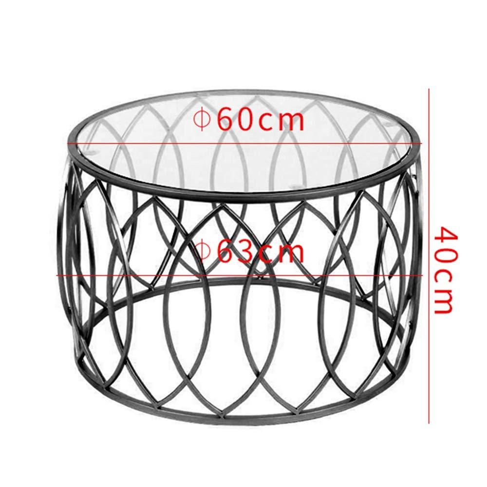FEIFEI ラウンド 強化ガラス コーヒーテーブル 北欧ファッション リビングルーム アイアンアート サイドテーブル,60 x 40CM (色 : 黒) B07NPG7NM6 黒