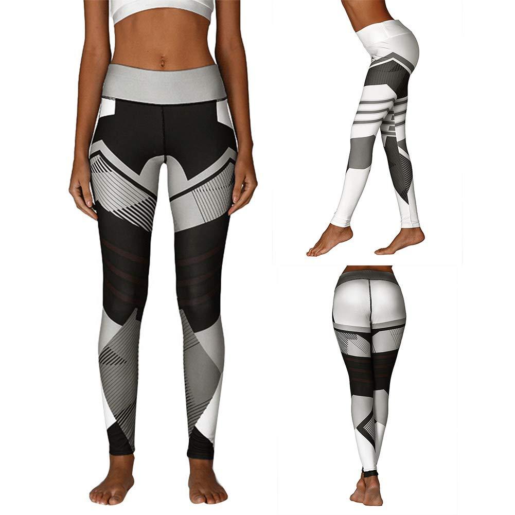 [Yoga Pants For Women]-Geometric Print Sports Women Push Up Leggings High Waist Yoga Pants Slim Tights Christmas gifts