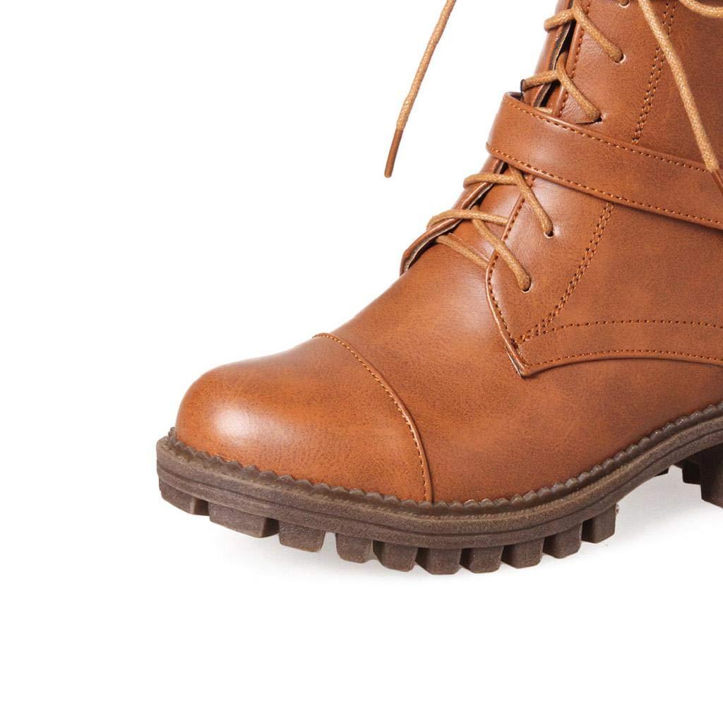 QUICKLYLY Botas De Nieve Mujer,Botines para Adulto,Zapatillas/Zapatos De Invierno Calzado Plataforma con Cordones Hebilla Sólido Antideslizante Punta ...