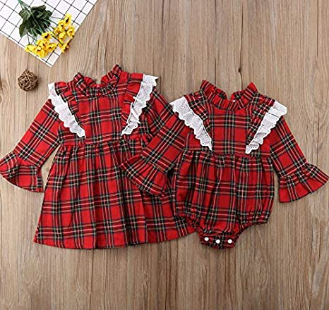 985d13ae97a Amazon.com  Imcute Newborn Baby Girl Sister Matching Plaid Lace Flared Long  Sleeve Romper Dresses Christmas Outfit Clothes  Clothing