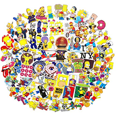 100PCS Simpson Cartoon Stickers Lovely Boy and Girl Sticker Laptop Computer Bedroom Wardrobe Car Skateboard Motorcycle Bicycle Mobile Phone Luggage Guitar DIY Decal (Simpson ()