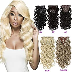 "7 Pieces Clip In Hair Extensions 20 Clips Silicone Triple Weft Synthetic Clip On Ins HairPieces Straight Curly Body Wave Wavy (22"" Body Wave 140g, 613 Bleach Blonde)"