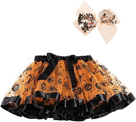 Gwxevce Niños Niñas Calabaza de Halloween Falda de tutú de Tul en ...