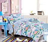 Cliab Dinosaur Bedding Purple Green Blue Queen Size Sheets Modern for Kids Baby Boys Girls with Polka Dots 100% Cotton 7 Pieces