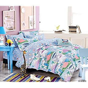 Delicieux Cliab Dinosaur Bedding Purple Green Blue Twin Size Sheets Modern For Kids  Baby Boys Girls With