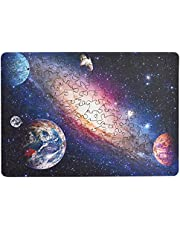 hartmaze Wooden Jigsaw Puzzles-Universe Space HM-05 Small Size Galaxy with Planets Unique Shape 177 Pieces for Adults and Kids-Best for Family Game Play Collection.