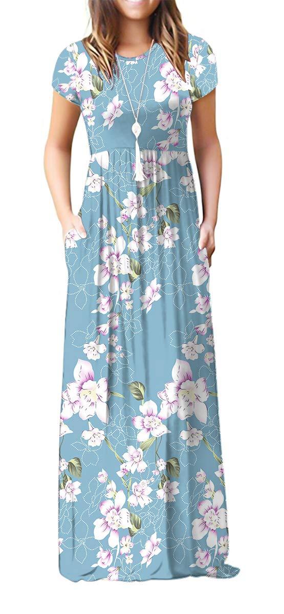 Viishow Women's Short Sleeve Floral Dress Loose Plain Maxi Dresses Casual Long Dresses with Pockets(Floral Light Blue L)
