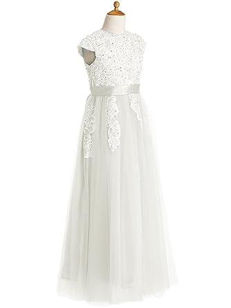 Amazon Kissangel Long White Flower Girl Dresses Lace First