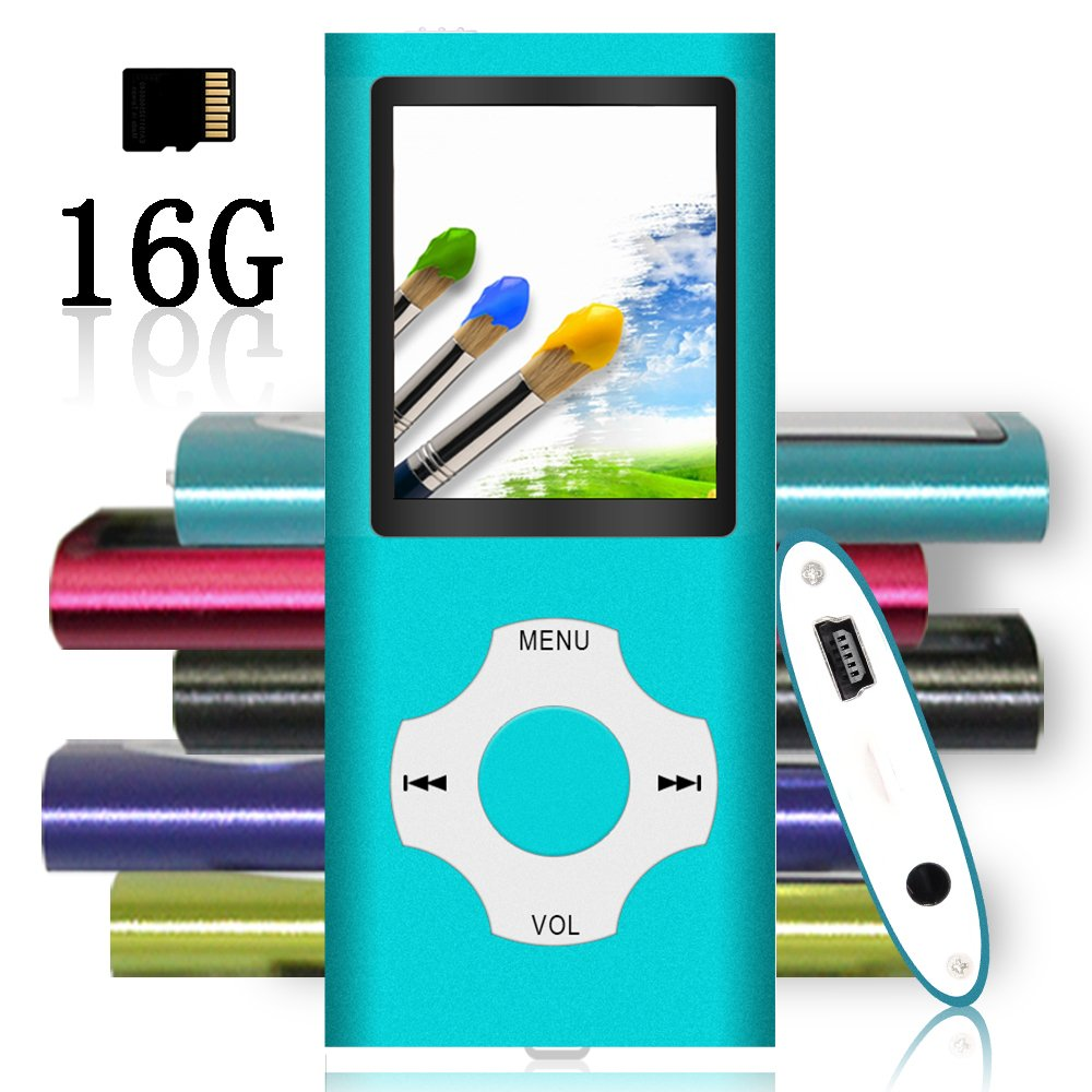 Tomameri - Portable MP3 / MP4 Player with Rhombic Button, Including a 16 GB Micro SD Card and Support Up to 64GB, Compact Music, Video Player - Blue