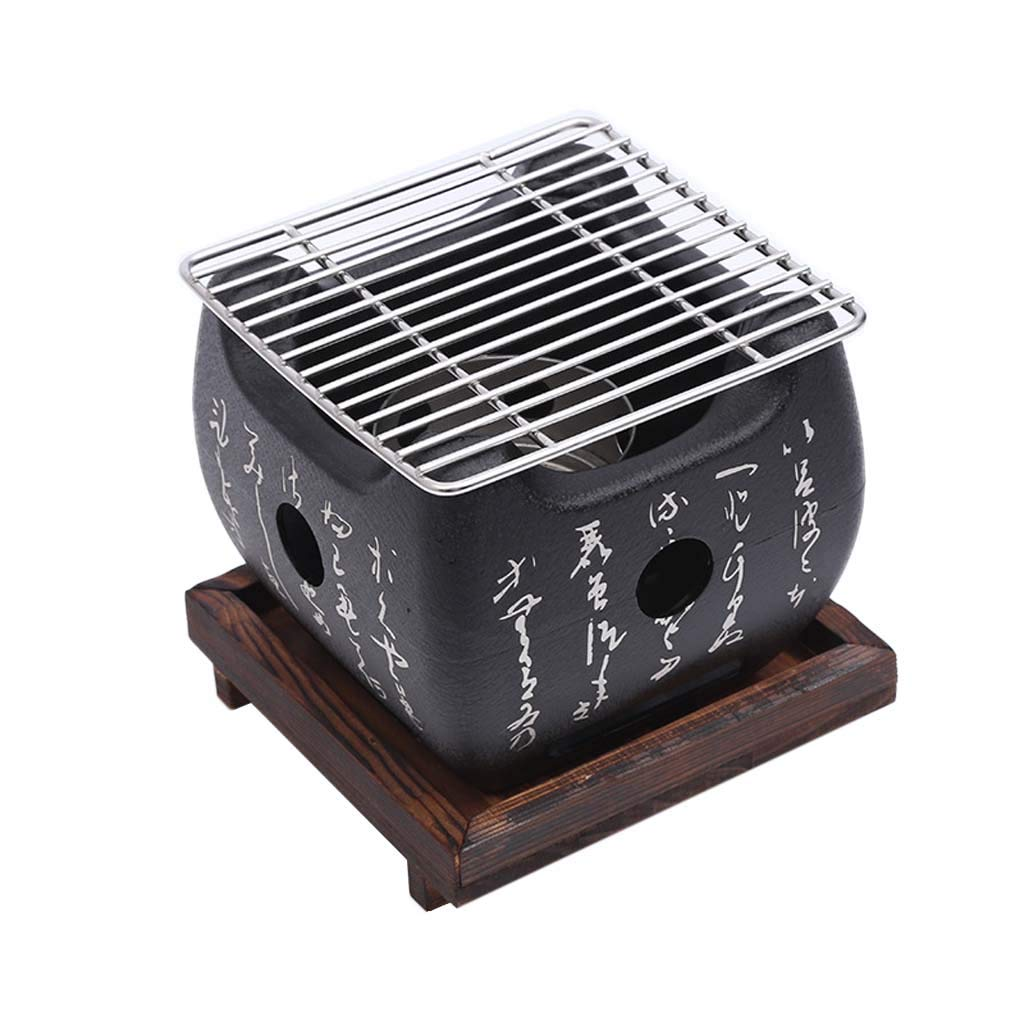 Mini Japanese BBQ Grill, Portable Indoor/Outdoor Charcoal Grill with Solid Wood Tray, Square Barbecue Mud Furnace with Cool Text (Size : 12 * 12) J&A
