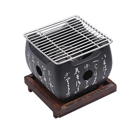 J&A Mini Parrilla de Barbacoa Japonesa, Parrilla de carbón portátil Interior/Exterior portátil con