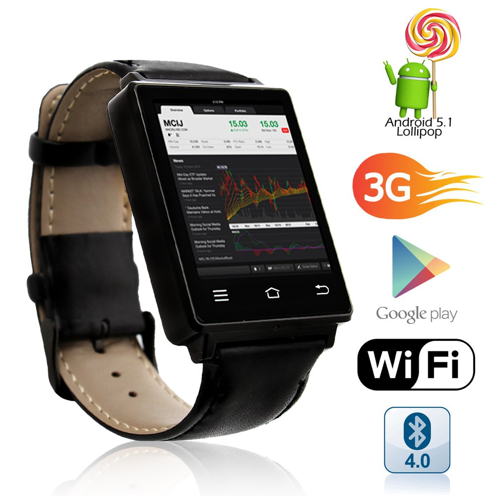 Android 4.0 Smart Phone Watch - 1.54 Inch Touch Screen Display, Camera, Dual Core CPU (Black)