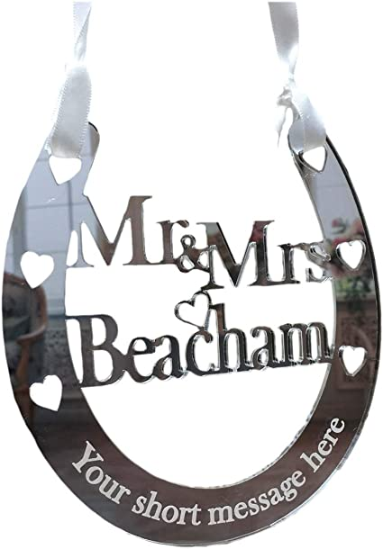 A Gift For You UK HS2 Double Barreled Name Personalised Wedding Good Luck 3mm Silver Mirror Acrylic Bridal Lucky Keepsake Horseshoe