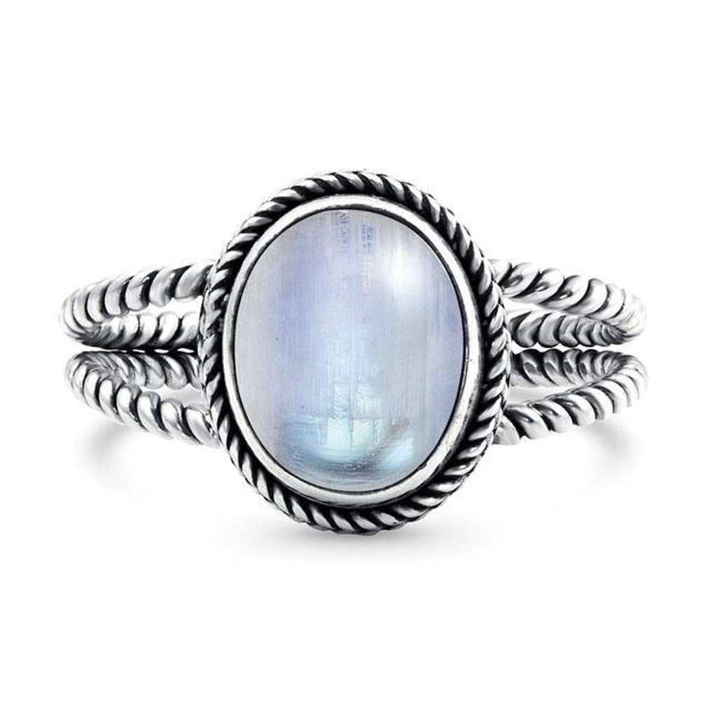 Pstars Retro Charm Women's Wedding Ring Engagement Luminous Stone Egg Shape Gem Ring