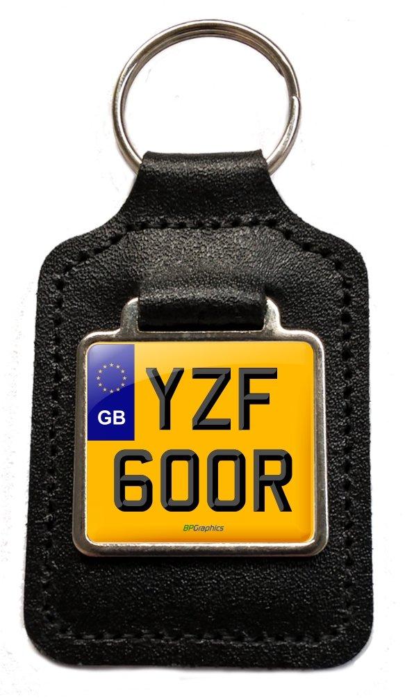BPGraphics YZF 600R Reg Number Plate Keyring Gift in Black Leather Key Fob for Yamaha YZF600R Thundercat Motorcycle Keys. GB