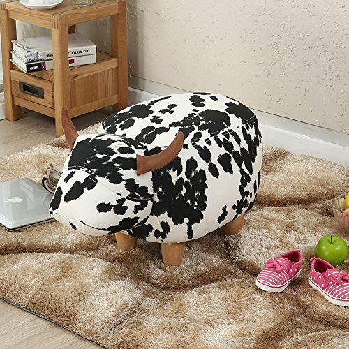 Sino Banyan Cow Ottoman Stool,Lint with 4 Beech Wood Leg,24