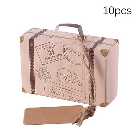 Vvciic 10PCS Cajas de dulces, Mini maleta Forma Caja de papel Bolsas de regalo dulce para fiesta, boda, cumpleaños