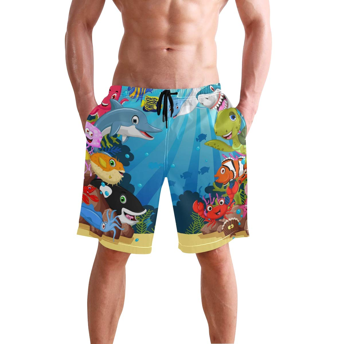 0dc0e59534 Men's Swim Trunks Quick Dry Sea Turtle Crabs Dolphines Bathing Suit Beach  Shorts | Amazon.com