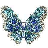 EVER FAITH Women's Austrian Crystal Butterfly Brooch Blue Gold-Tone