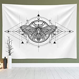 Geometric White and Black Butterfly Tapestry Wall Hanging, Abstract Sketch Moth Art Tapestries Fits Home Dorm Living Room Bedroom Decor for Men and Women with Non-Mark Hooks & Clips