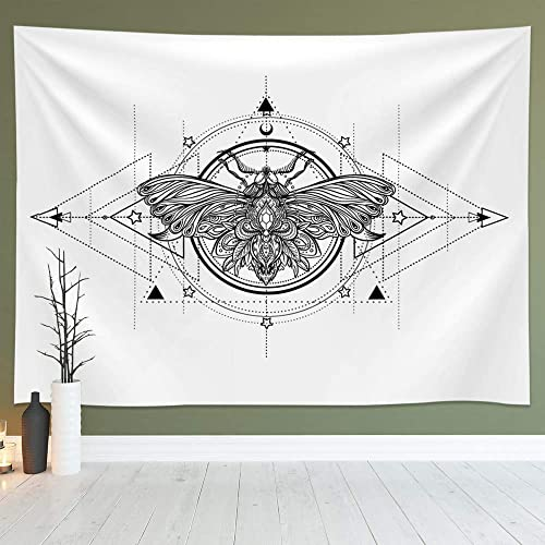 Geometric White and Black Butterfly Tapestry Wall Hanging, Abstract Sketch Art Tapestries Fits Home Dorm Living Room Bedroom Decor for Men and Women with Non-Mark Hooks Clips