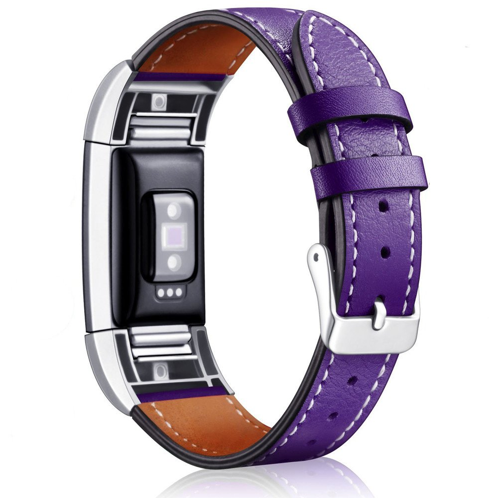 For Fitbit Charge 2 Bands Leather, AISPORTS Fitbit Charge 2 Leather Band Smart Watch Band Adjustable Replacement Band Metal Bracelet Buckle Clasp Wrist Band for Fitbit Charge 2 Fitness Accessories
