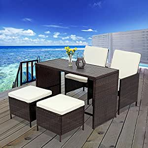 5 PCS Outdoor Rattan Wicker Bar Stool Set,Wisteria Lane All Weather Porch Sectional Sofa Wicker Dining Set Home Bar Furniture Rattan Chair and Table,Gray
