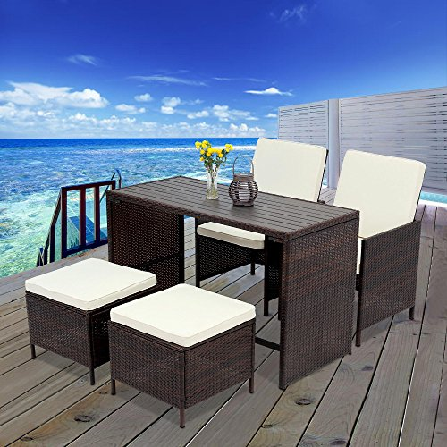 5 PCS Outdoor Rattan Wicker Bar Stool Set,Wisteria Lane All Weather Porch Sectional Sofa Wicker Dining Set Home Bar Furniture Rattan Chair and Table,Gray (Set Wood Furniture Sofa)
