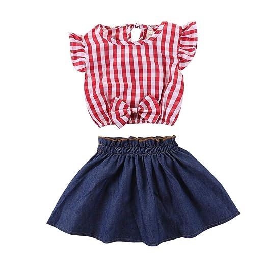 63b6009715a Baby Girls Summer 2Pcs Skirts Set Red Plaid Sleeveless T Shirt + Denim Skirt  Outfits (