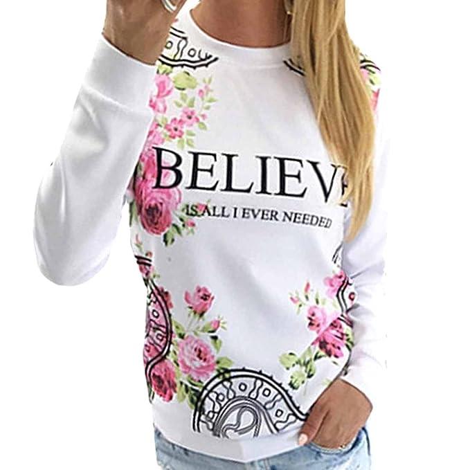 QIYUN.Z Creer Tops De Manga Larga De La Camiseta Ocasional De Base Blanca Florales