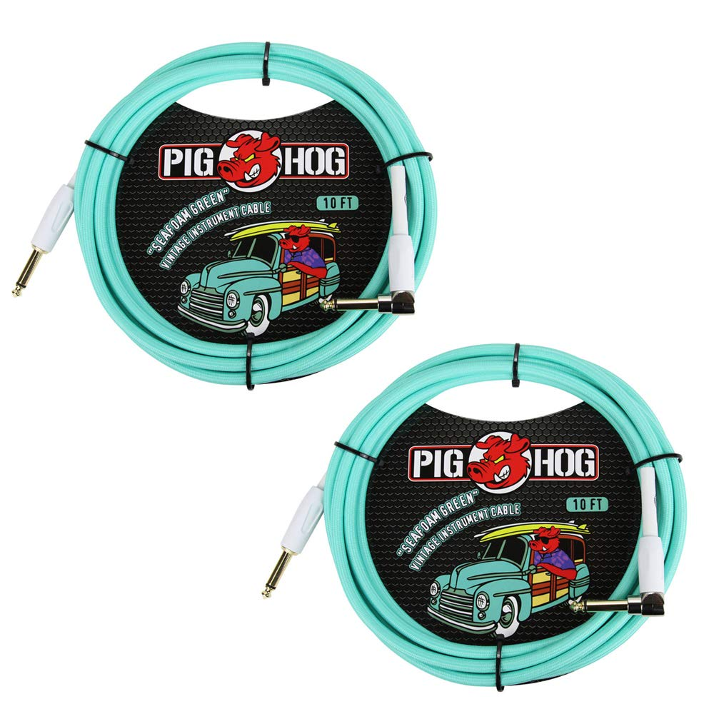 Pig Hog Vintage-Series Woven Instrument Cable (Seafoam Green, 10', Right Angle), (2-Pack)