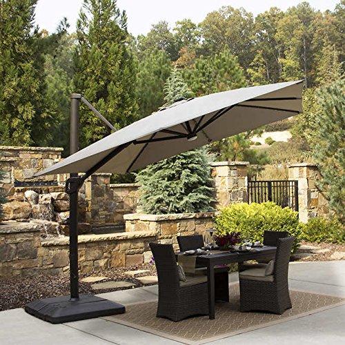 10 Foot Offset Cantilevered Solar LED Patio Umbrella