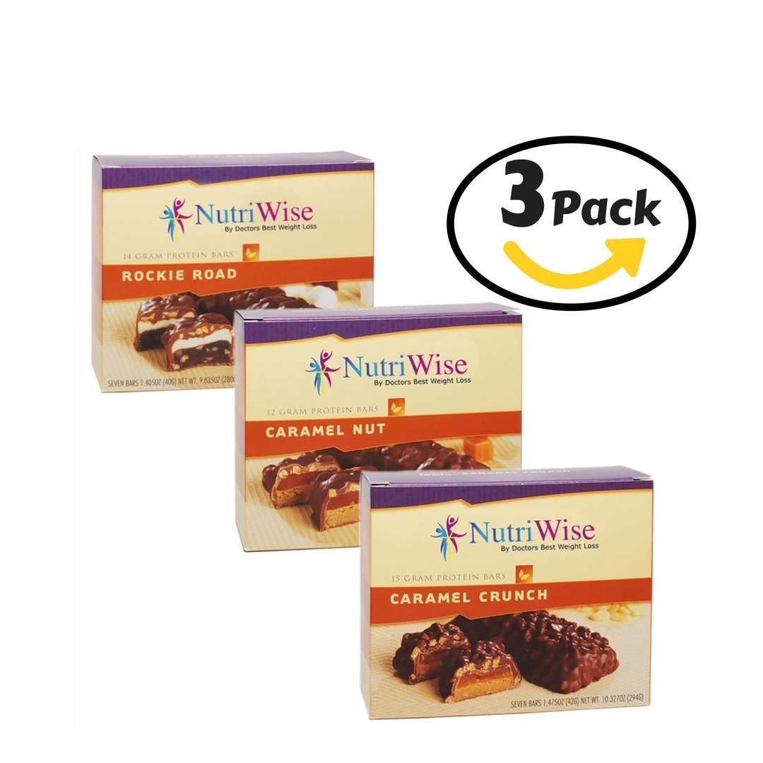NutriWise - Caramel Crunch - Caramel Nut - Rockie Road Diet Bar   Top Seller Bundle   Low Calorie, Low Fat, Low Carb, High Protein, High Fiber, Gluten Free (7/Box) by NutriWise
