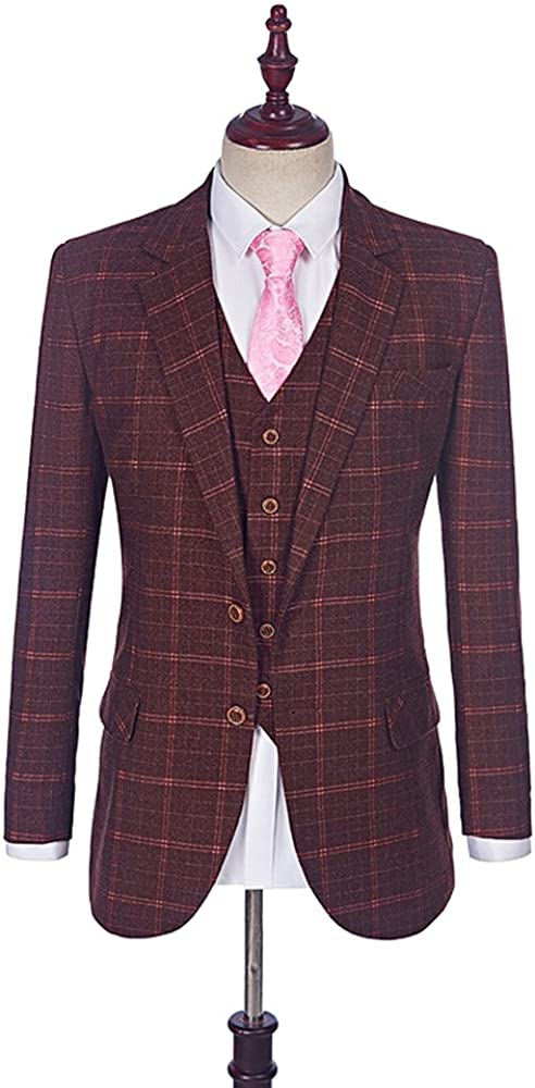 Maxudrs 2018 New Burgundy Tweed Men Suits Plaid Wedding Suit Groom Tuxedos Tailored Wool Suits For Men MA028