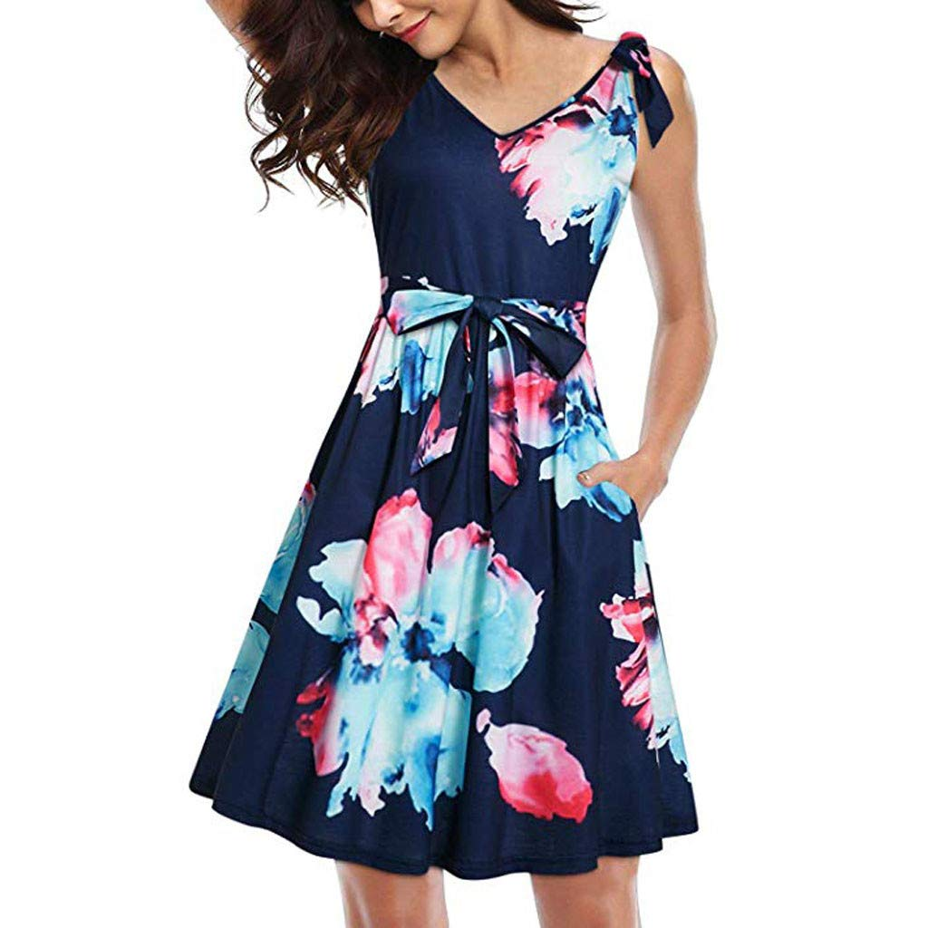 ZOMUSAR Women's Floral V-Neck Summer Dress Casual Bow Tie Pocket Sundress Belts Dress Blue